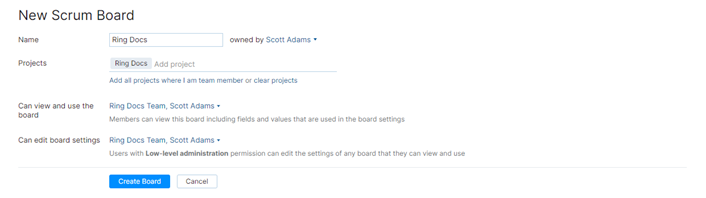 Scrumban new board settings