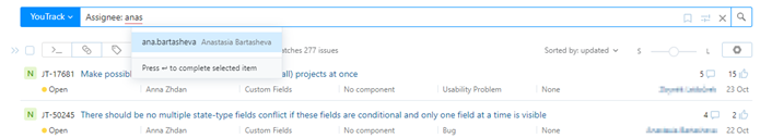 Auto-completion for user accounts.