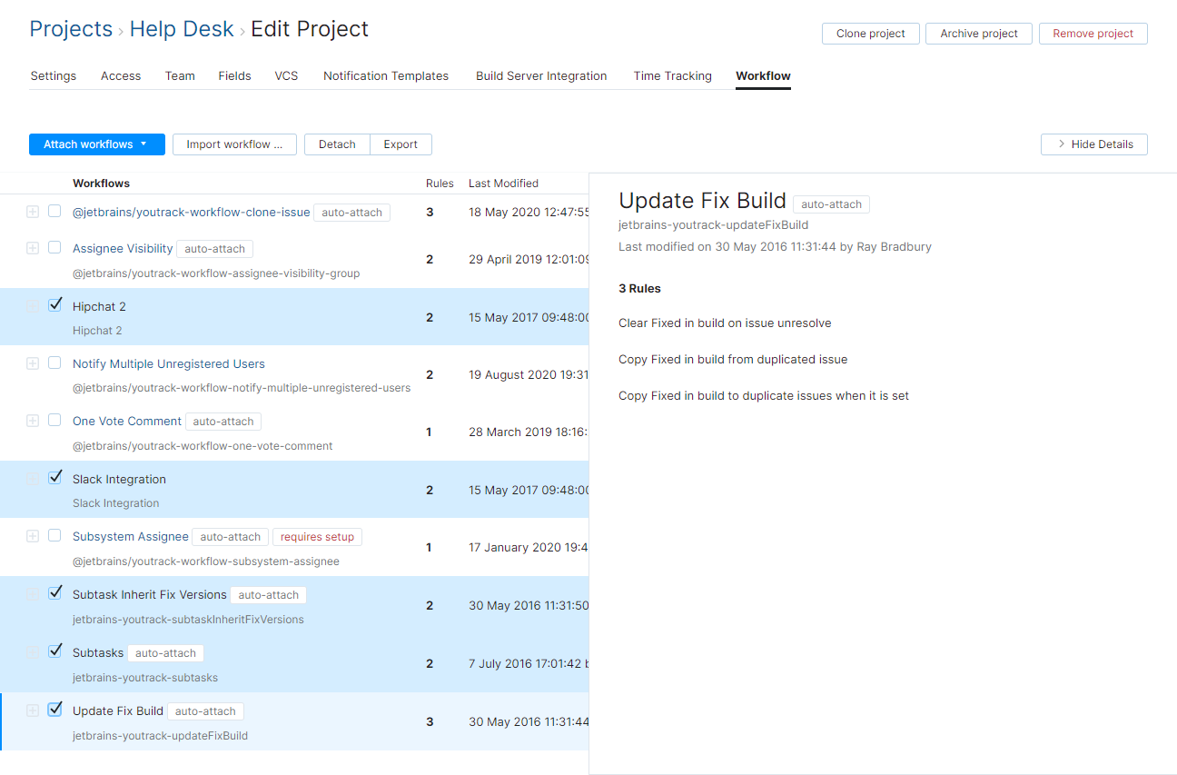 Select all legacy workflows in a project.