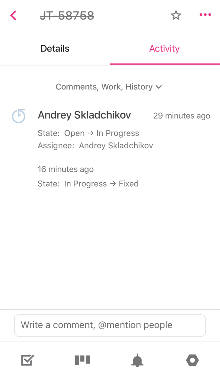 Activity tab for single issue in YouTrack Mobile.