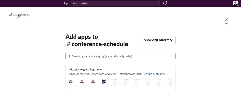 Link to manage apps for a Slack workspace.