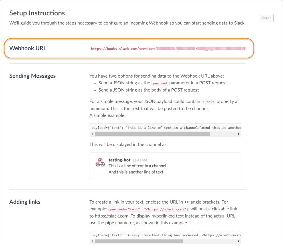Slack notifications setup