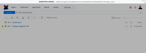 sample banner with a message that alerts users about a scheduled import job