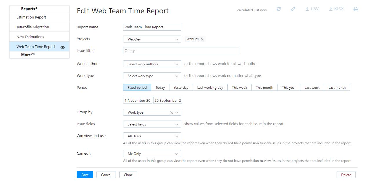 time report settings