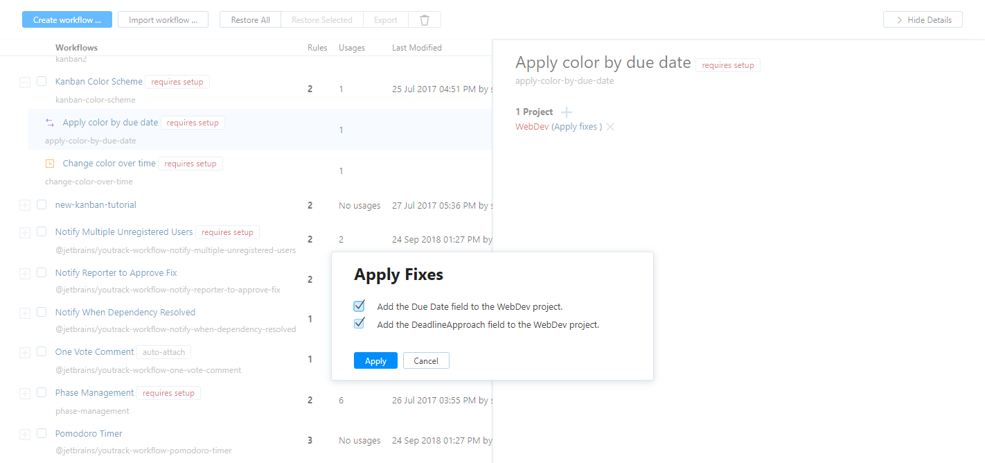 workflow apply fixes