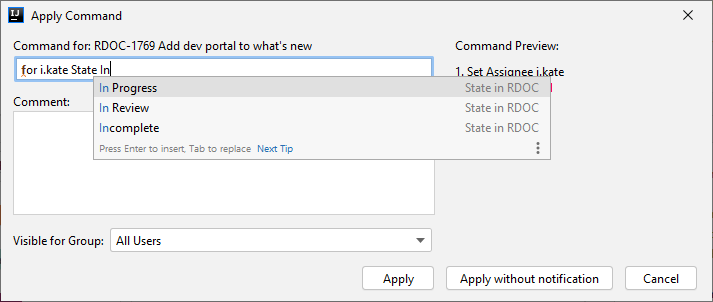 Youtrack Integration command dialog.