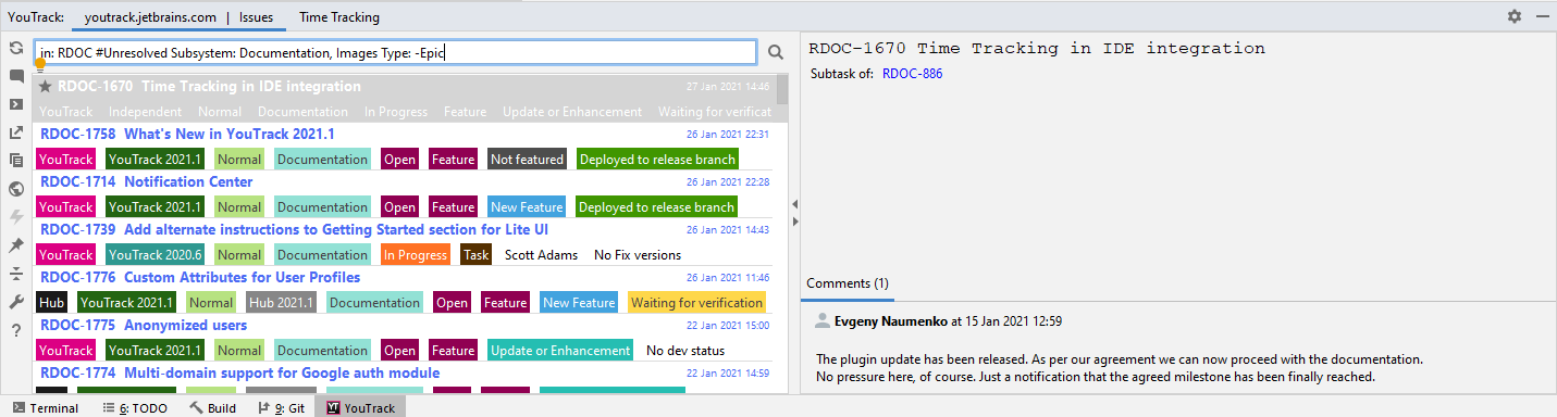 Tool window for the YouTrack Integration plugin.