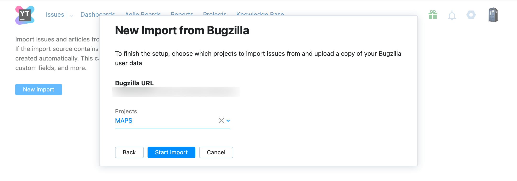 Optionally, select specific projects to import.