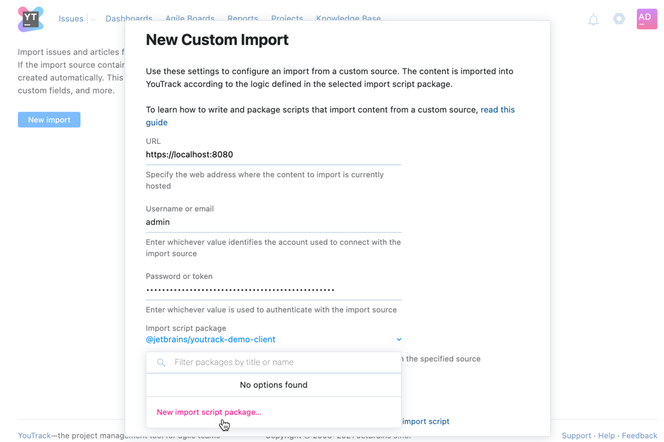 Create new import script package