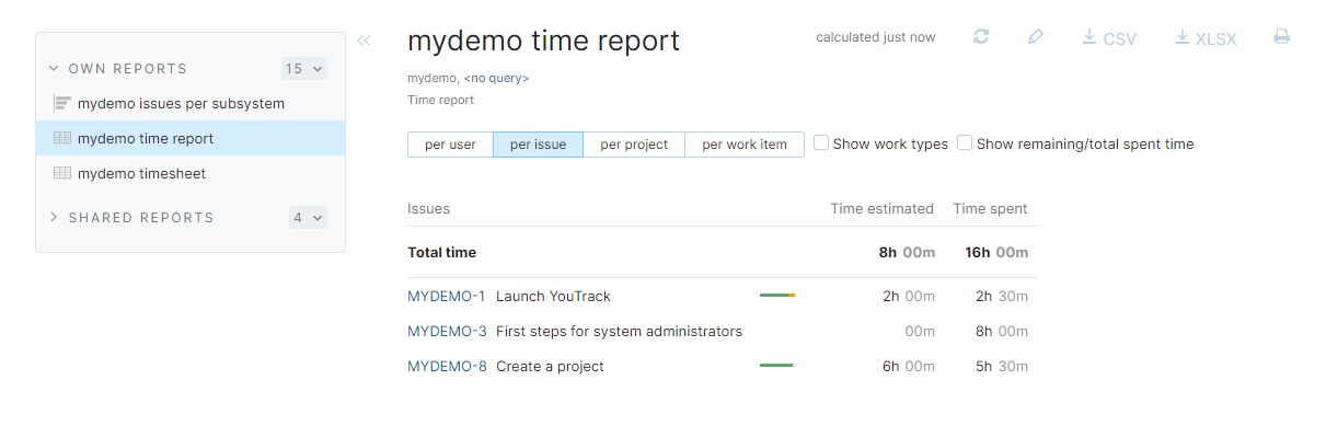 Time report for demo project.