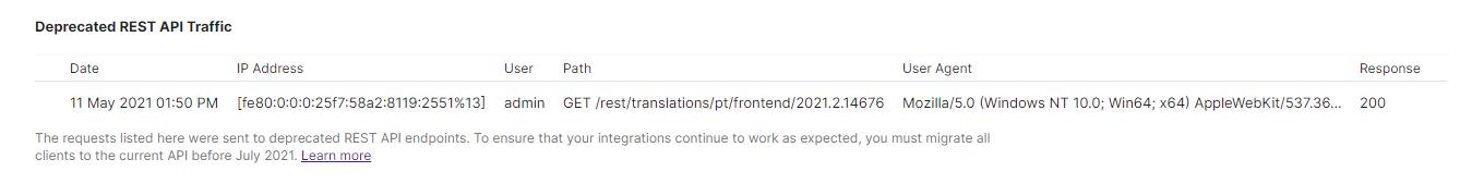 Deprecated REST API traffic.