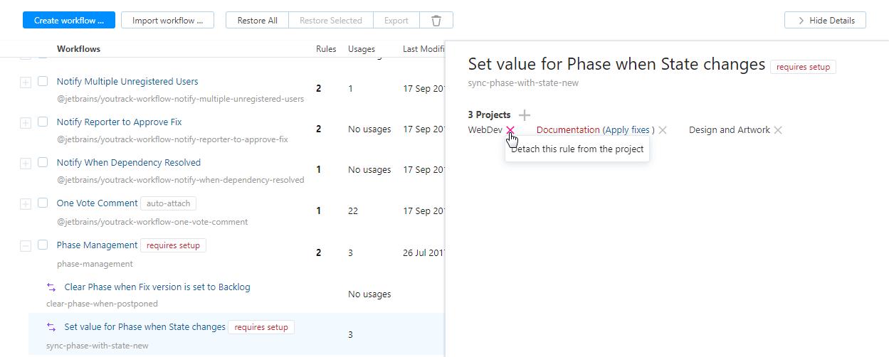 Detach workflow rule in project.