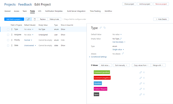 feedback project type field