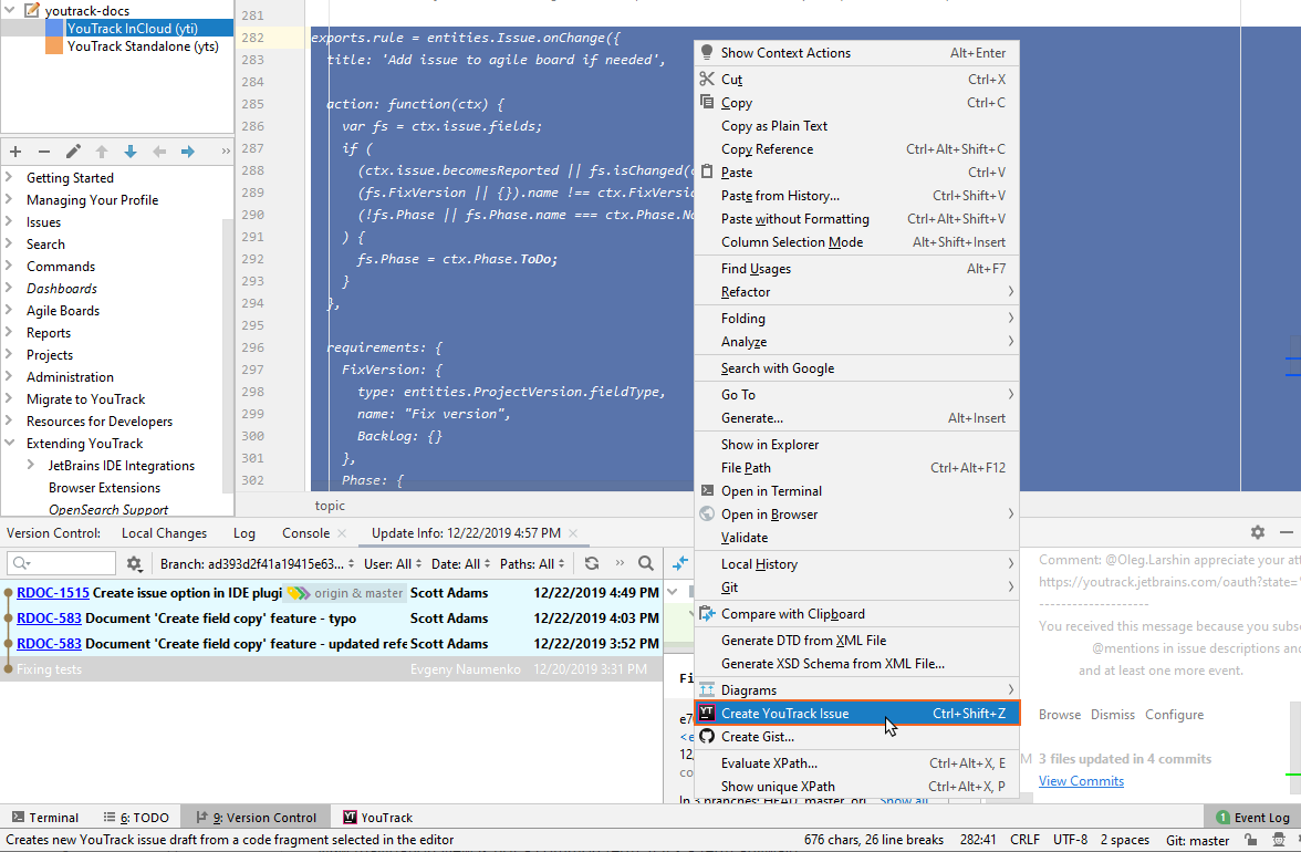 Create YouTrack Issue option in context menu.