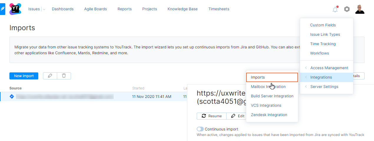 Imports page in YouTrack.