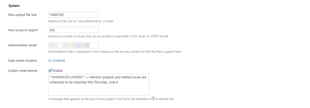 system settings for YouTrack InCloud