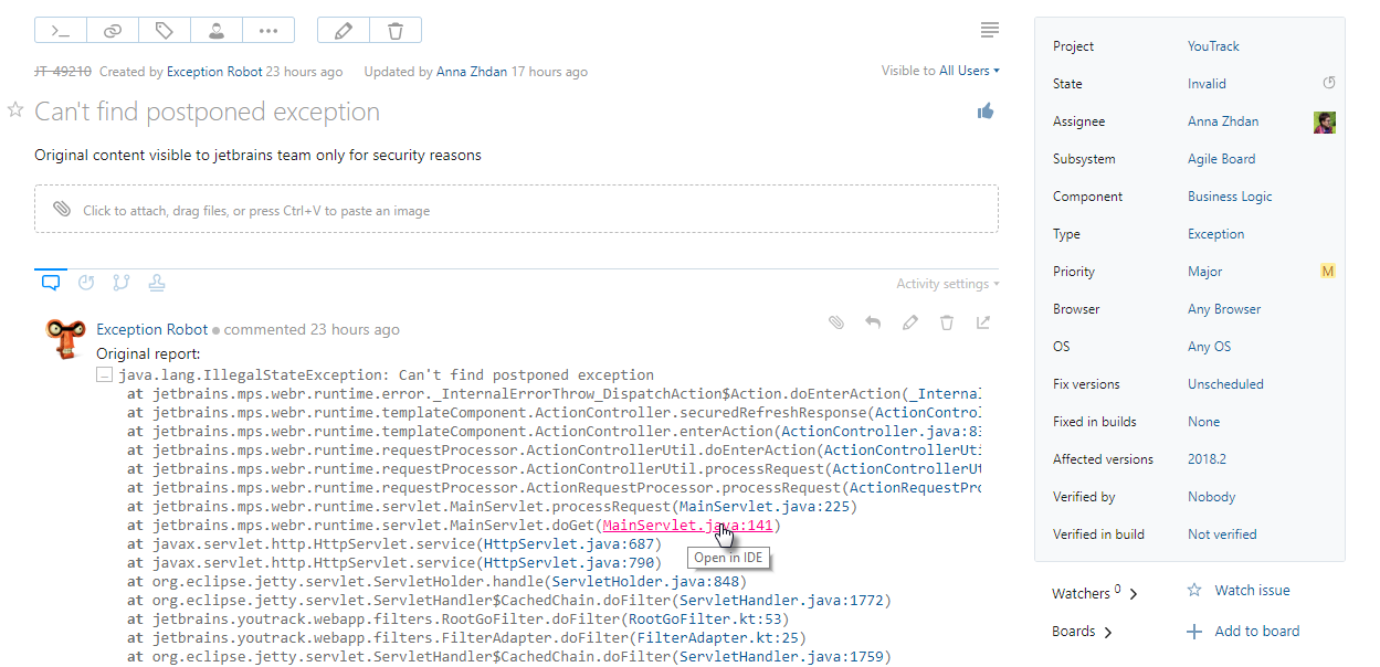 Java stack trace in a YouTrack issue.
