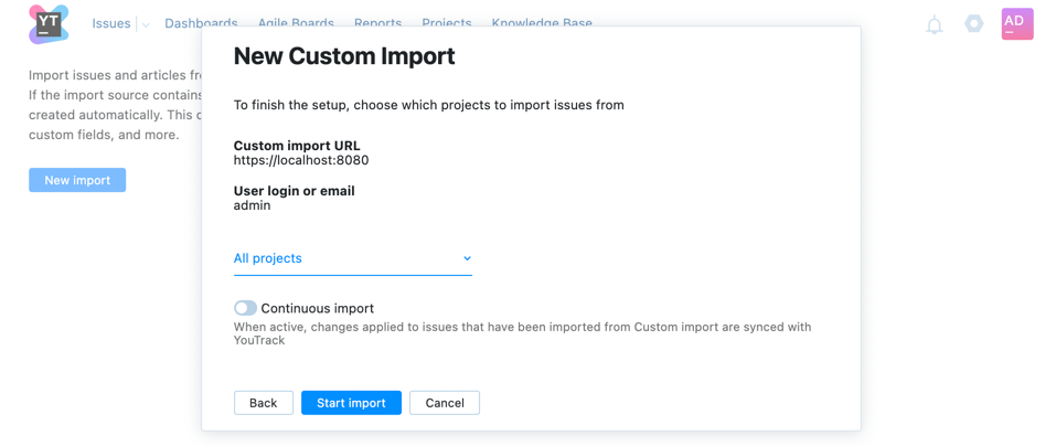 New custom import step two
