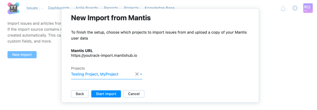 New Import from Mantis dialog step two.