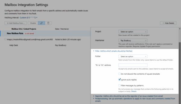 feedback mailbox rule filter