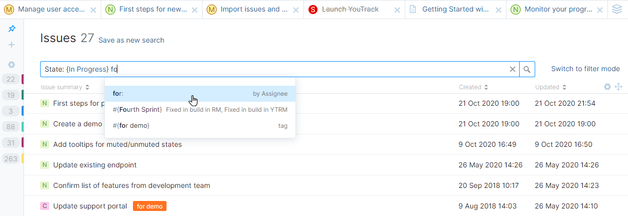Query mode in YouTrack Lite.