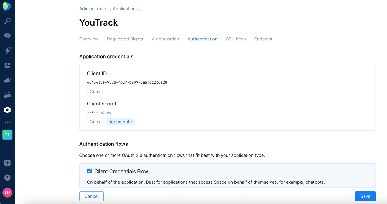 Space application authentication settings
