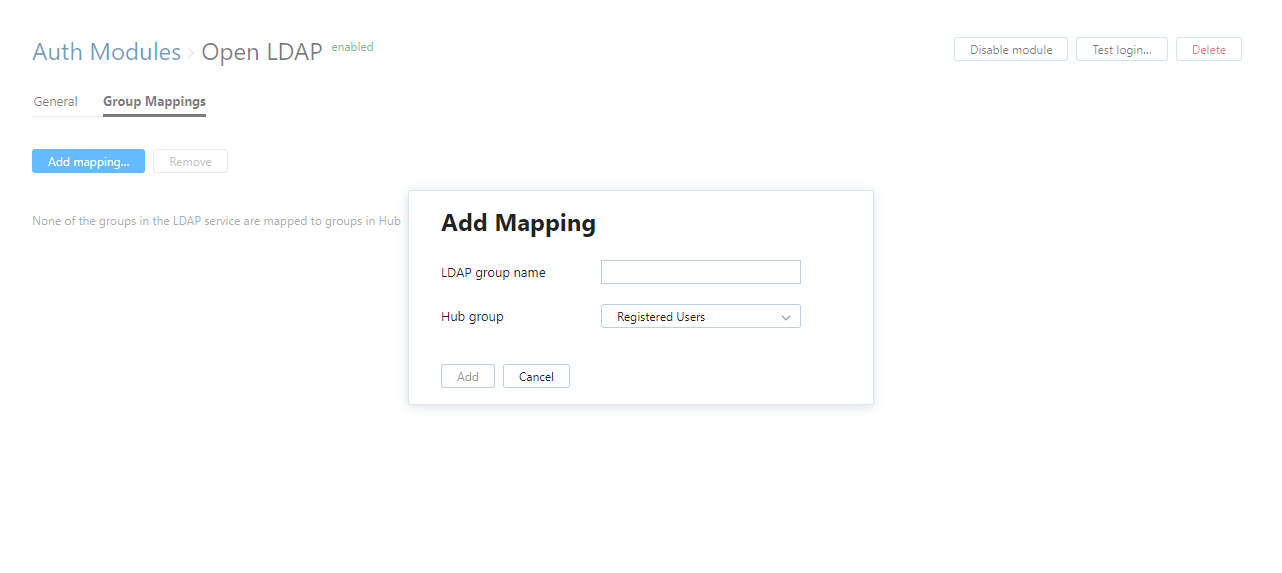 add open LDAP group mapping