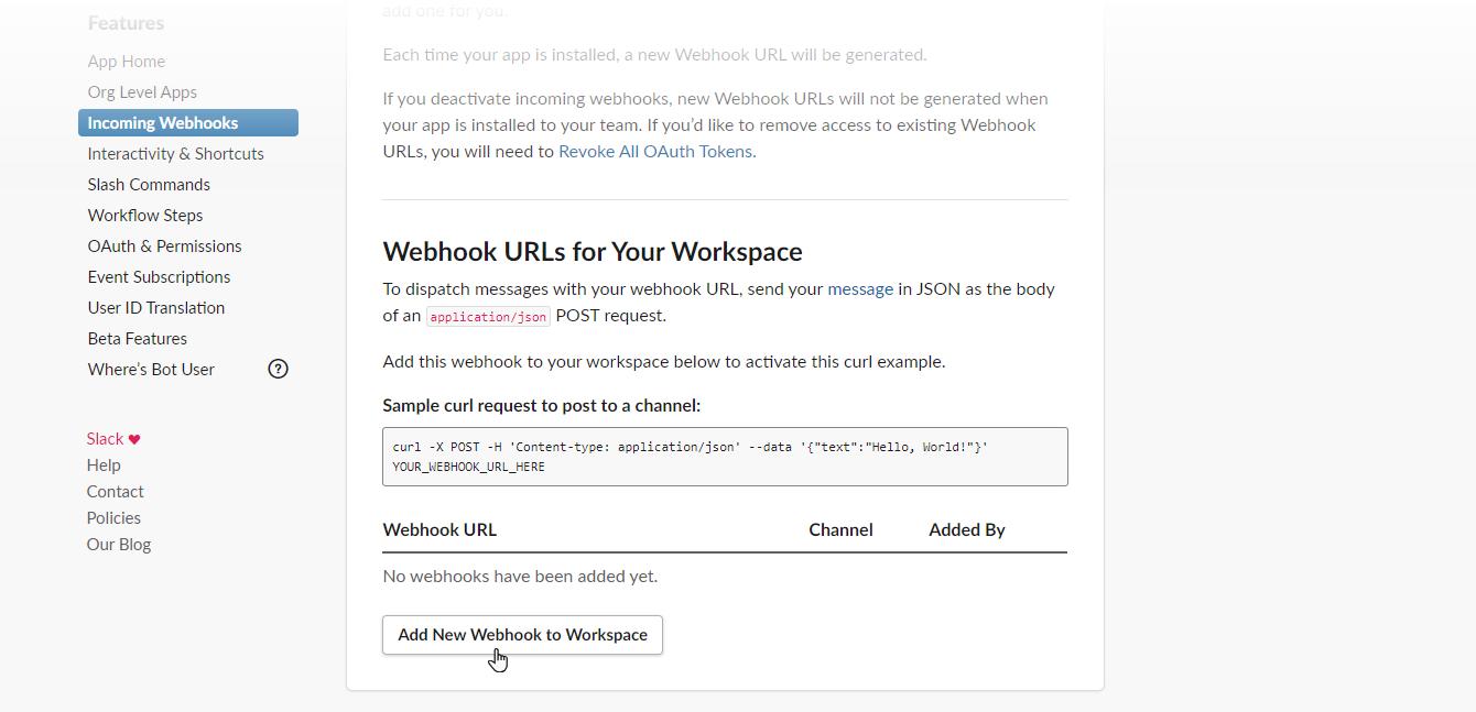 Add new webhook to workspace.