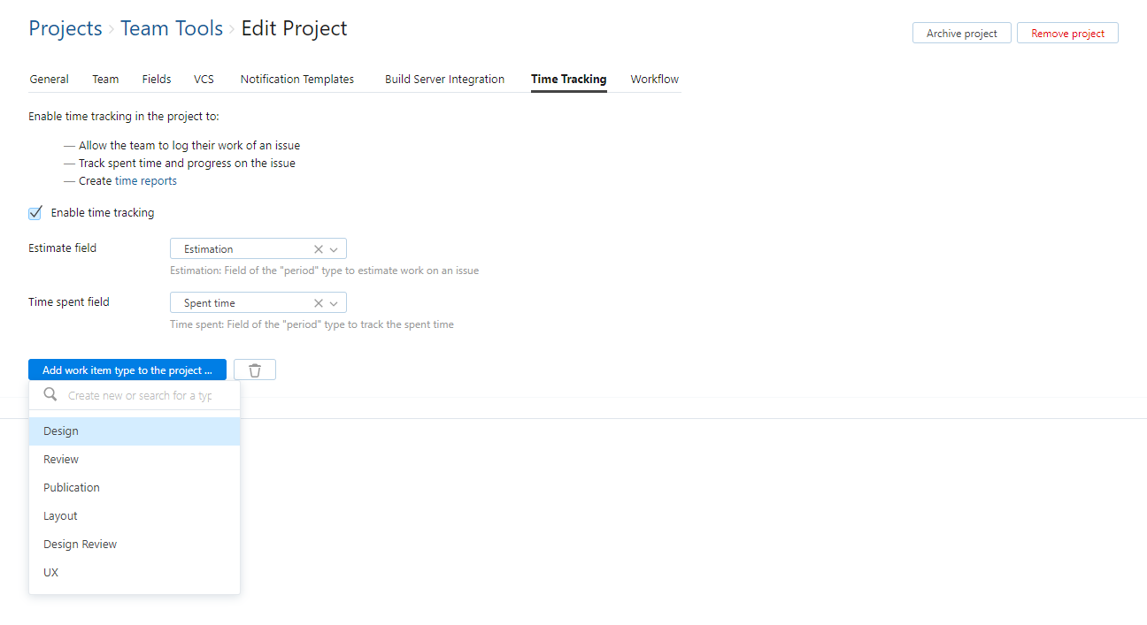 Add work item type to project