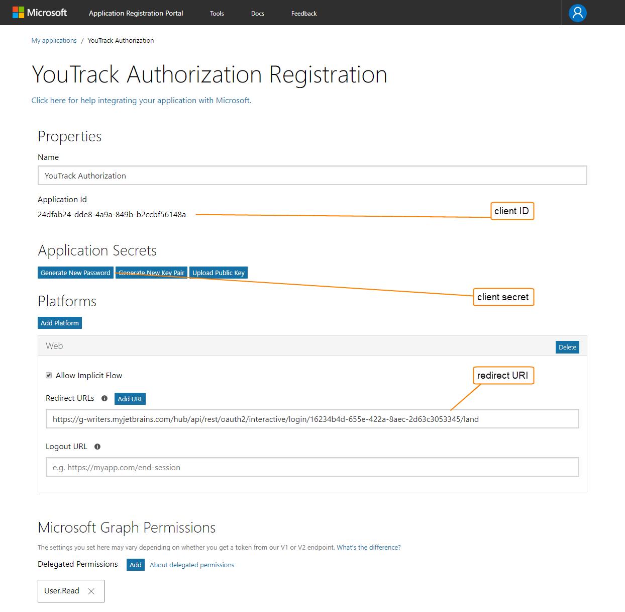 Application registration portal