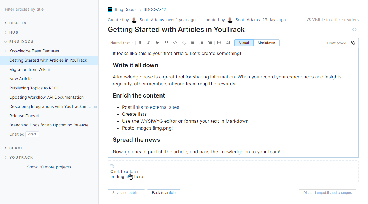 Browse and attache files to article.