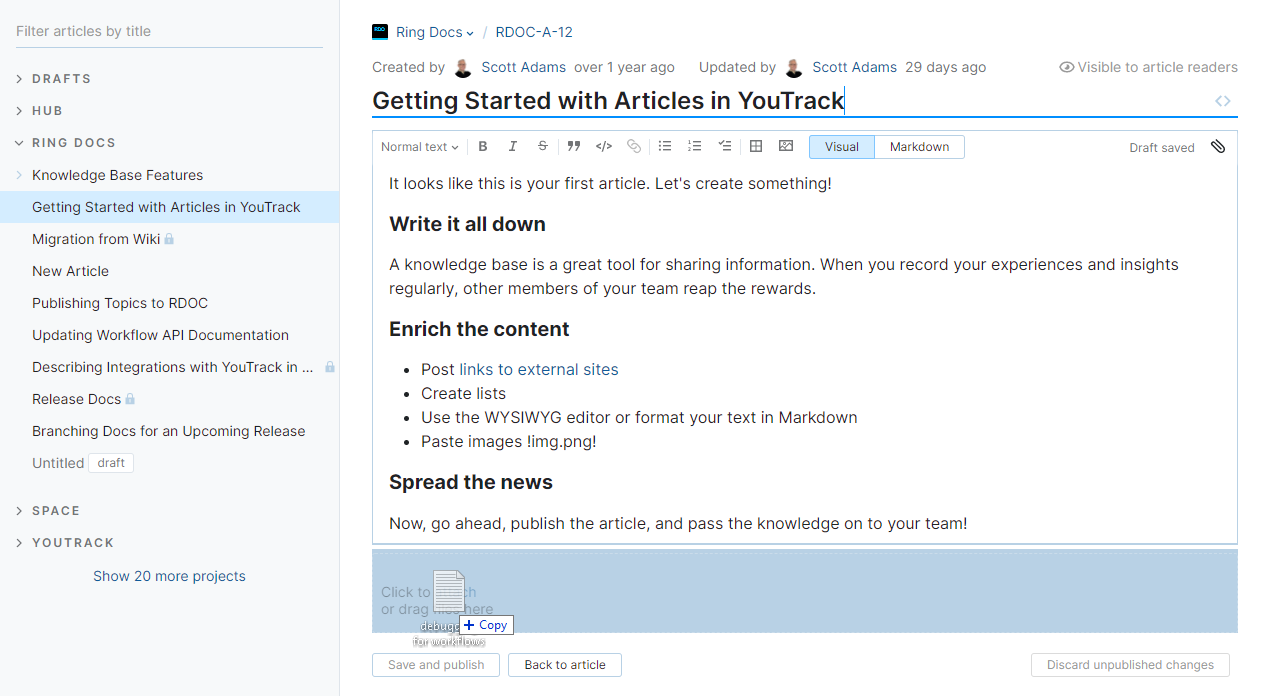 Drag file to article.