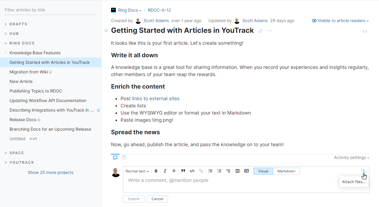 Attach a file to an article comment.