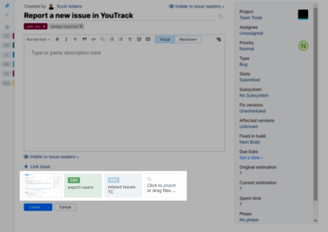 Attach files to a new issue in YouTrack Lite.