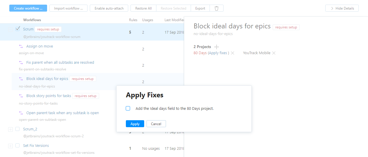 Attach workflows apply fixes.