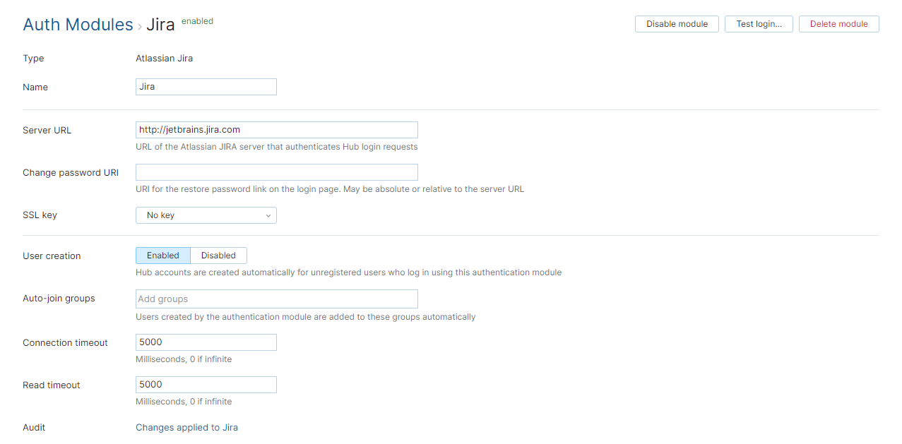 Jira auth module enabled