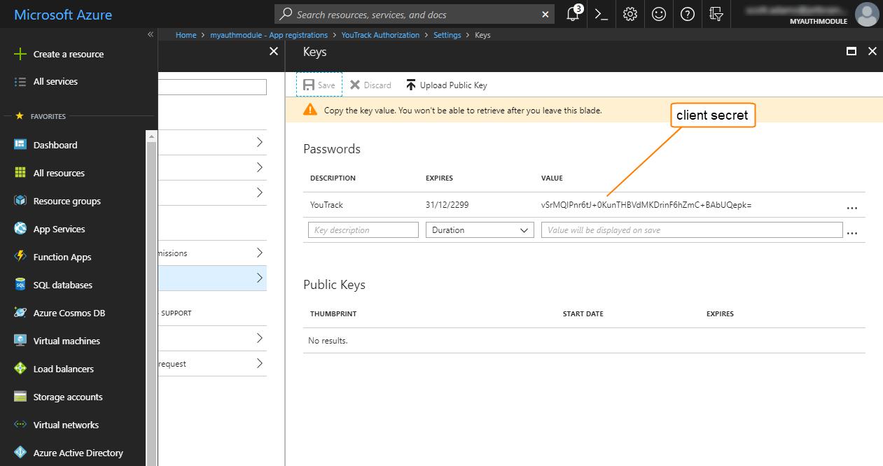 Azure auth client secret
