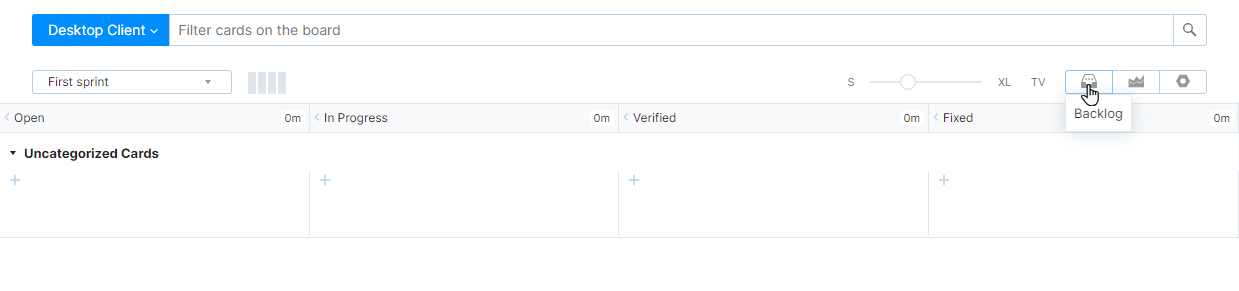 Backlog button in the agile board toolbar.