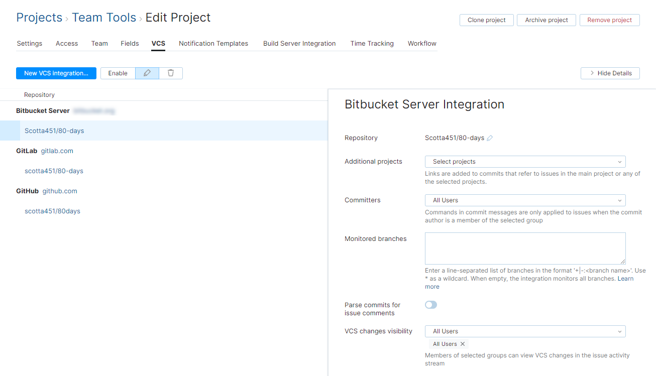 Bitbucket Server integration settings