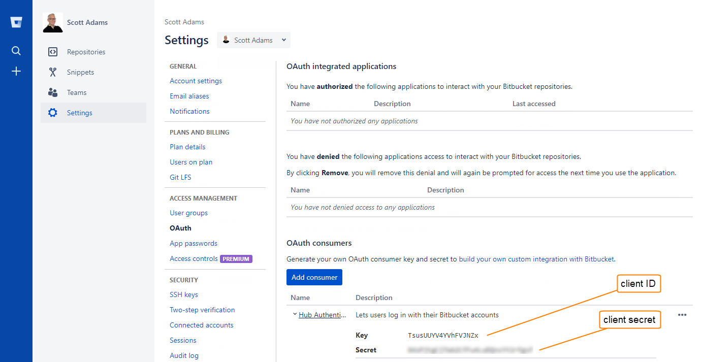 Bitbucket auth registration