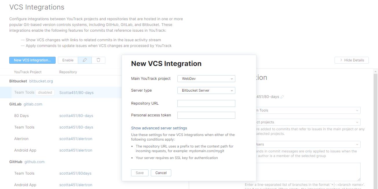 new Bitbucket Server VCS integration