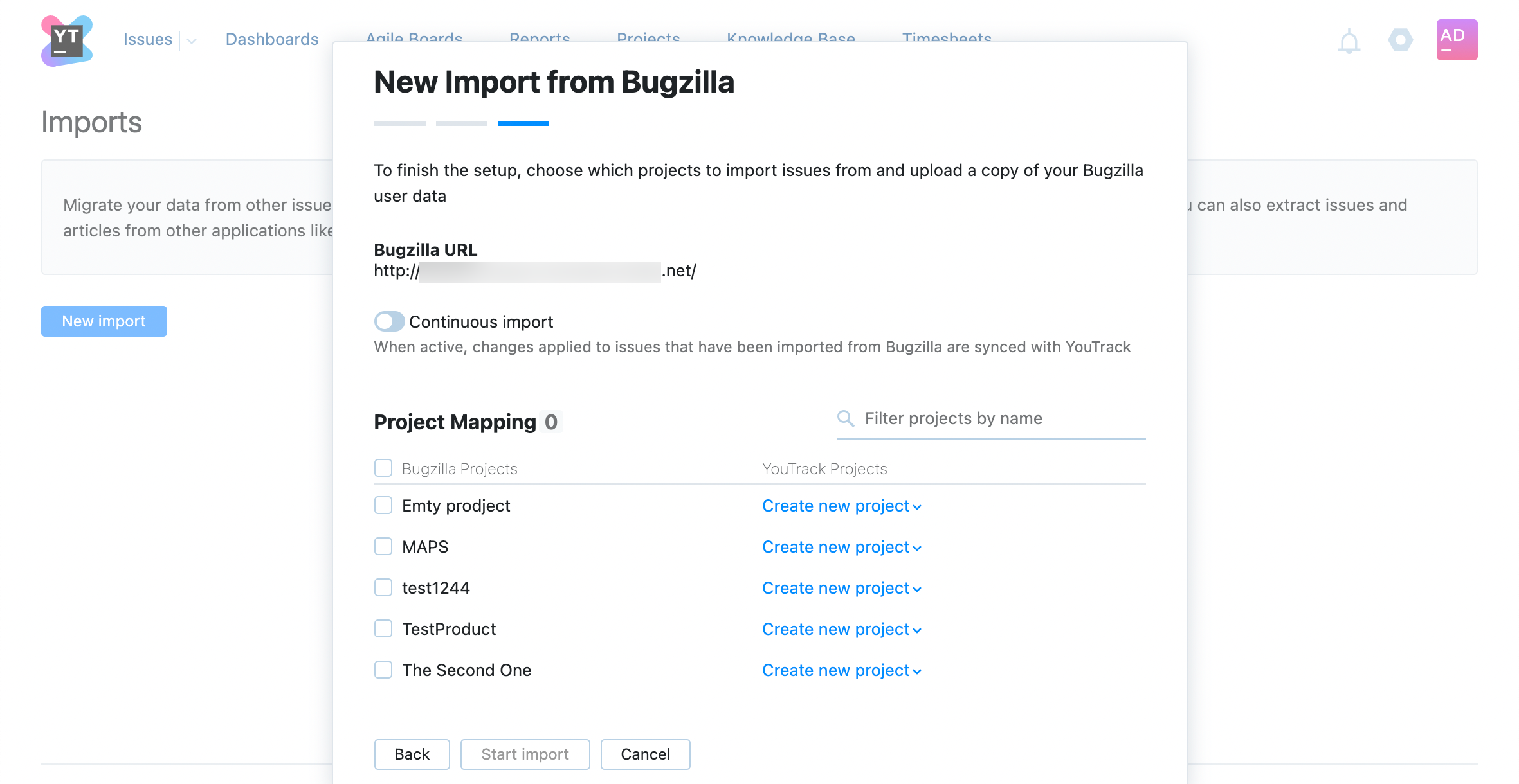 Select projects to import