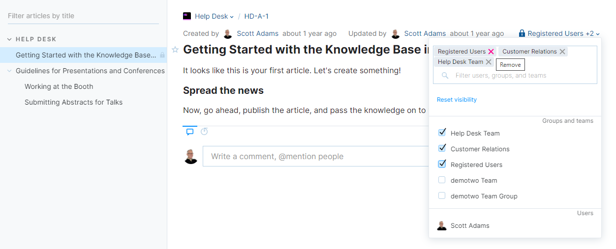 Changing visibility for a published article.