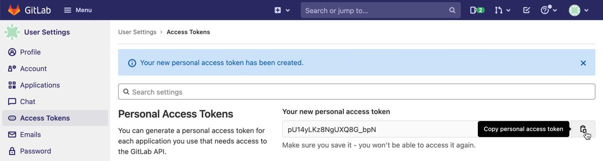 copy token in GitLab