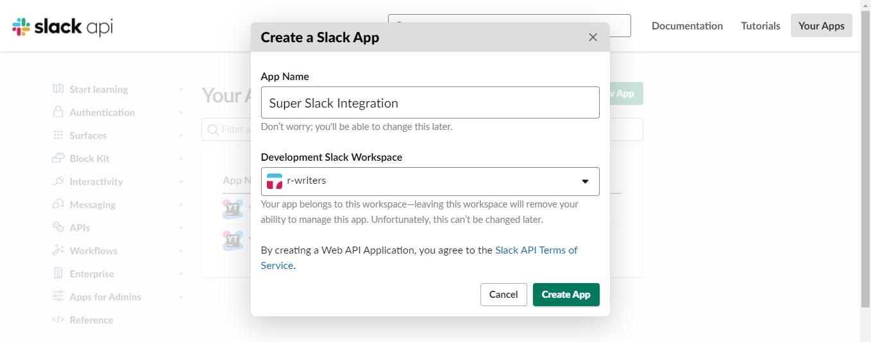 Create slack app dialog.
