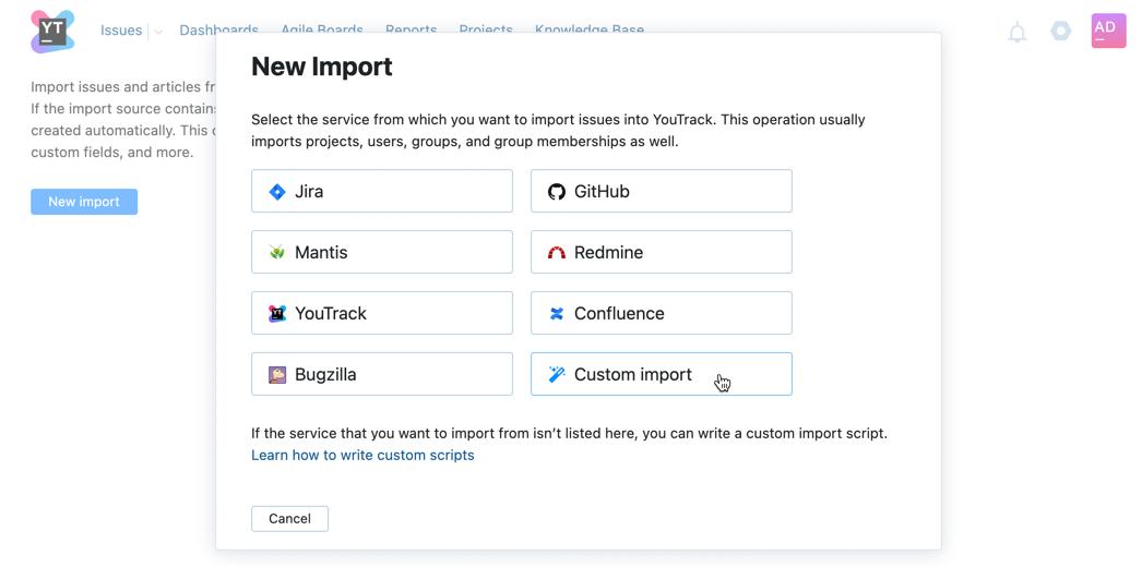 New import dialog