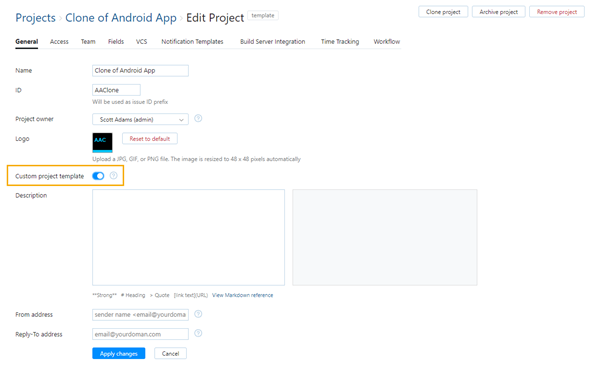 enable custom project template option