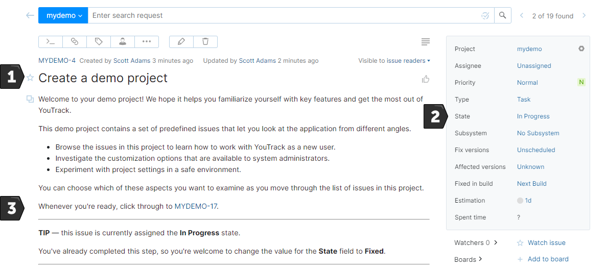 Sample issue in the demo project.