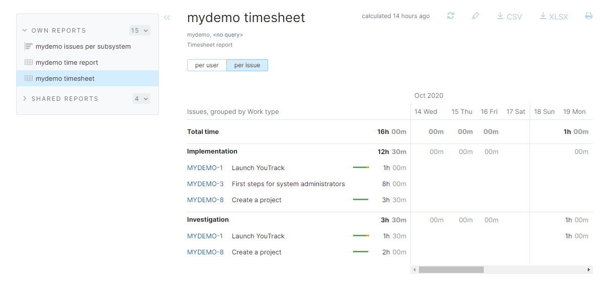 Timesheet report for demo project.