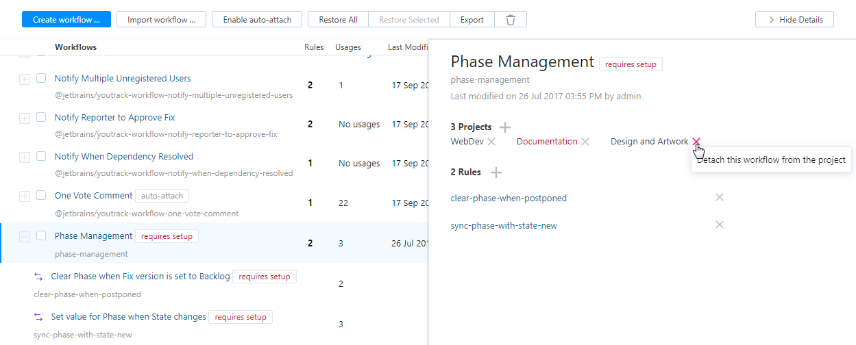 Detach workflow from project.